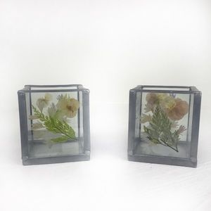 Other - Set of 2 Boho Pressed Wild Flowers Candle Holders